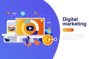 Flache Konzeptnetzfahne des digitalen Marketings moderne mit verziertem kleinem Leutecharakter. Zielseitenvorlage vektor