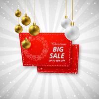 Verkaufshintergrund der frohen Weihnachten mit Weihnachtsballdesign vecto