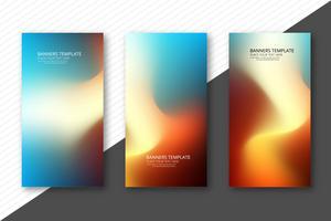 Abstrakte bunte elegante Wellenfahnen stellten Designschablone ein