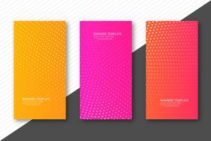Abstrakt prickad färgrik banderoller uppsättning mall design vektor