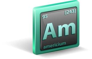 chemisches Element von Americium. chemisches Symbol mit Ordnungszahl und Atommasse. vektor