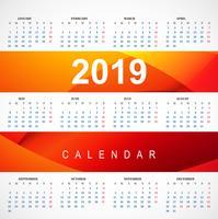 Modern 2019 röd kalendermall med vågvektor vektor