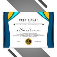 Abstrakt elegant certifikatmall vågig design