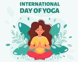 Frau, die im Lotus meditiert, werfen internationalen Tag des Yoga auf vektor