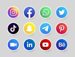 Social-Media-Kreisknopf mit weißem Rand vektor