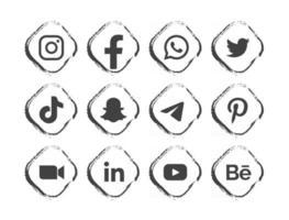 schwarzes Social-Media-Logo mit Rahmen vektor