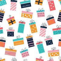 helle bunte Geschenkboxen auf weißem Hintergrund mit Schleifen im Stil von flachen Kritzeleien Vektor nahtlose Muster Kinderzimmer Dekor Poster Postkarten Kleidung und Einrichtungsgegenstände