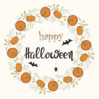 Happy Halloween runder Rahmen aus Kürbis und Blättern mit Schriftzug vektor