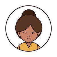 Frau Augenzwinkern und Brötchen Haar Cartoon Porträt weibliche runde Linie Symbol vektor