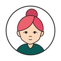 Frau Cartoon Charakter Portrait mit Brötchen Haar runden Liniensymbol vektor