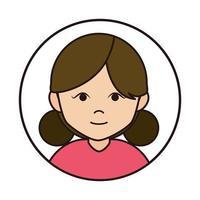 Frau Cartoon-Figur weiblich mit Brötchen Haar runden Liniensymbol vektor
