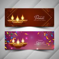 Abstrakt vackra Happy Diwali banners uppsättning