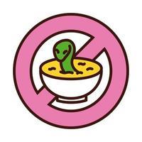 verboten, Schlangenlinie zu essen und Stilsymbol zu füllen vektor