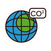 Planet mit CO2-Linie und Füllstilsymbol vektor