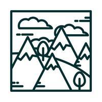 Landschaft Berge Alpen Schnee Bäume Gras Wolken Himmel Cartoon Linie Symbol Stil vektor
