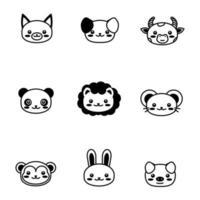 Gesicht süßes Haustier Tier Umriss Symbol Kawaii Tier vektor