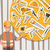 Handwerker-Arbeits- und Bauwerkzeuge-Icon-Design vektor