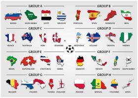 Fußball- oder Fußballpokal-Teamgruppe stellte Länderkarte mit nationalem Flaggenvektor für internationales Weltmeisterschaftsturnier 2018 ein vektor