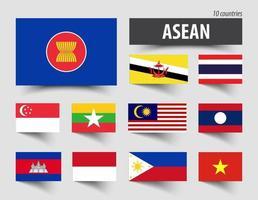 Flagge der ASEAN-Vereinigung südostasiatischer Nationen und Mitgliedschaft vektor