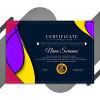 Abstrakt färgrik vågig certifikatmalldesign