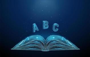 abstraktes offenes Buch mit fliegenden Buchstaben abc vektor