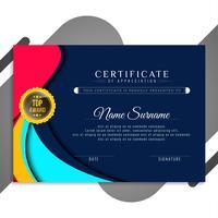 Abstrakt stilfull vågig certifikatmalldesign