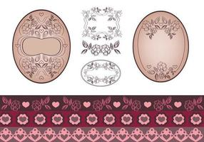 Floral Tag und Border Vector Pack