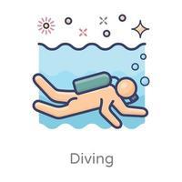 Unterwasserschwimmdesign vektor