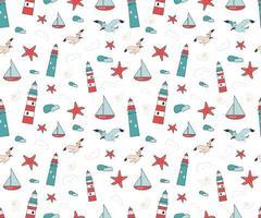 Sommer Marine nahtlose Muster mit Leuchttürmen, Möwen, Seesterne, Schiffe und Muscheln in Rot und Blau. Bewohner des Meeres. geeignet für Geschenkpapier, Schreibwaren, Kinderbekleidung und Textilien vektor