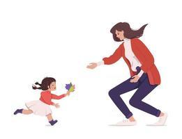 glatt möte mellan mamma och dotter. familj promenad. kärlek. tid med ditt barn. glada känslor och tjejer. semester, helger, semester. en present till en snygg mamma. barn gratulerar mamma till kvinnodagen vektor