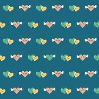 nahtloses Muster von ein paar Herzen mit Flügeln auf blauem Grund. lebendiger, sich wiederholender Druck mit Valentinstagssymbol. geeignet für Schreibwaren, Kleidung, Verpackungen vektor