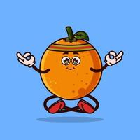 süßer orangefarbener Fruchtcharakter. Meditation Frucht Charakter Symbol Konzept isoliert. Emoji-Aufkleber. flacher Cartoon-Stil-Vektor vektor