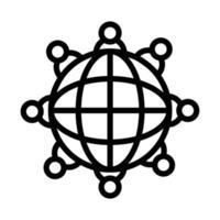 Kugelbrowser mit Personen um das Linienstilsymbol vektor