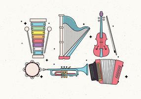 Vektor Vektor der Musikinstrumente Knolling