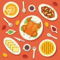 Traditionell Mat Thanksgiving Vector