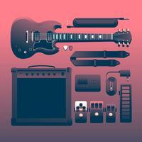 Rockmusikinstrumente Knolling vektor