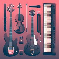 band musikinstrument knolling set vektor