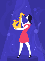 Frau, die Saxophon spielt vektor