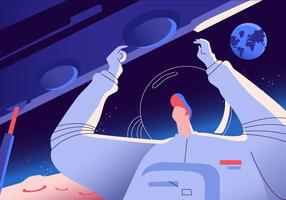Astronout-Reise zur Mond-Vektor-Hintergrund-Illustration vektor