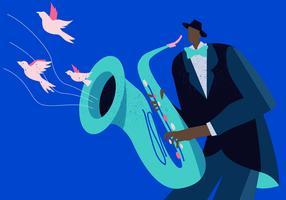 Saxaphone Player In Jazz Concert Vector Flat Bakgrund