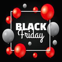 Schwarzes Freitag-Verkaufs-Plakat mit glänzenden Ballonen