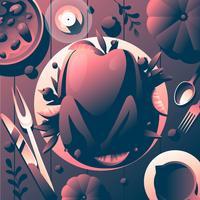 Thanksgiving Food Table Draufsicht vektor
