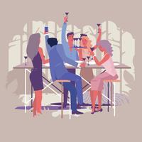 Gruppe Freunde, die Weingläser, Selfie rösten und Spaß draußen haben vektor