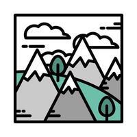 Landschaft Berge Alpen Schnee Bäume Gras Wolken Himmel Cartoon Linie und Füllstil vektor