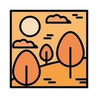Landschaft Wald Bäume Wüste Wolken Sonne Cartoon Linie und Füllstil fill vektor