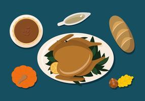 Thanksgiving middag platt vektor