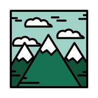 Landschaft Berge Gipfel Alpen Schnee Natur Cartoon Linie und Füllstil vektor