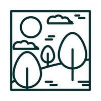 Landschaft Wald Bäume Wüste Wolken Sonne Cartoon Symbol Leitung Stil vektor