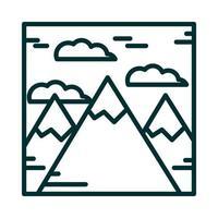 Landschaft Berge Gipfel Alpen Schnee Natur Cartoon Symbol Leitung Stil vektor