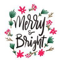 Gullig blomma och löv med bokstäver citat om jul